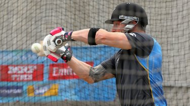 Brendon McCullum bats during a nets session at the MCG on Friday.