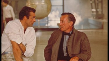 Sean Connery and author Ian Fleming discuss the character of James Bond while filming an interior scene for <i>Dr No</i> in 1962.