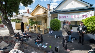 The sit-in protest in Collingwood on Thursday.