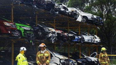 Firefighters are yet to determine the cause of the blaze at the Pickles Auctions car yard.