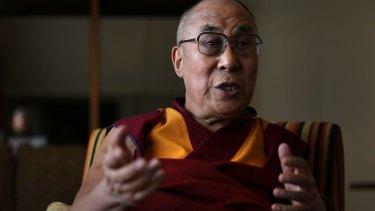 The Dalai Lama in Katoomba on Thursday.
