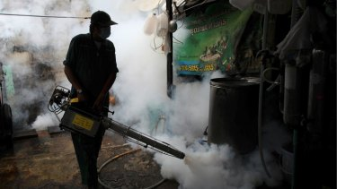 A government worker fogs a home with mosquito repellent in Thailand where authorities confirmed two babies were born with Zika-related birth defects.