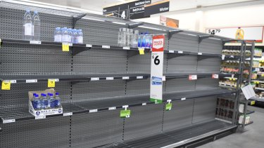 Empty supermarket shelves in Townsville.