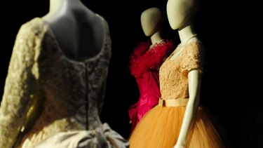 The wedding gown and bridesmaid dresses at the National Film and Sound archive of Australia.