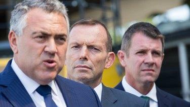 Treasurer Joe Hockey, Prime Minister Tony Abbott and NSW Premier Mike Baird.