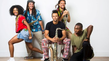 African-Australian sound: Pepsie Magonya, Vuli Mkwananzi, Klue Clouston, Bheki Mkwananzi and Thuba Ndibali at the Campbelltown Performing Arts Centre.