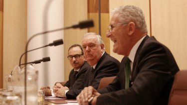 7-Eleven's Michael Smith, Russell Withers and Robert Bailey front the inquiry.
