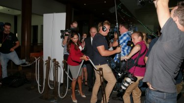 Members of the media almost trip over a bollard after a Parliamentary security guard put it in their way while interviewing Communications Minister Malcolm Turnbull in March.