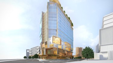 An artist's impression of the planned $100 million Tatts headquarters in Newstead.