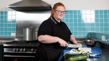 Jasmine Hamlyn, 21, is studying to become a hospitality worker at Canberra College CCCares.