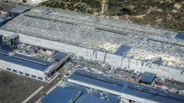 A hectare-sized roof has been blown off the main building at the Kurnell desalination plant.