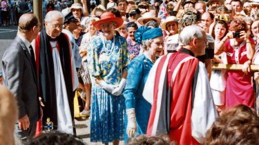 Welcome: Ken Short hosts the Queen during her visit to St Andrew's Cathedral in 1992.