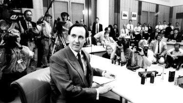Paul Keating addresses media on December 19, 1991, after successfully challenging the leadership of prime minister Bob Hawke.