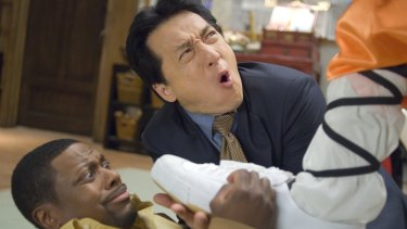 Chris Tucker and Jackie Chan with Chris Tucker in <i>Rush Hour 3</i>.