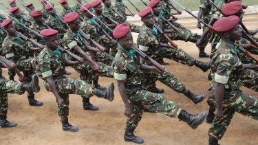 Burundian soldiers march during Independence Day in Bujumbura, Burundi on July 1.