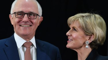 Malcolm Turnbull and Julie Bishop during the official launch of the 2017 Foreign Policy White Paper at the Department of Foreign Affairs and Trade in Canberra.