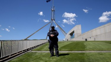 The lawns at Parliament House in Canberra.