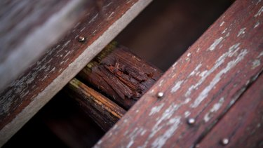 A rotted balcony at the troubled Rangeview Estate in Diamond Creek.