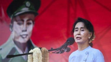 Myanmar pro-democracy leader Aung San Suu Kyi at a rally on Sunday.
