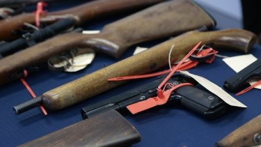 How many? Seized firearms held by the Australian Federal Police.