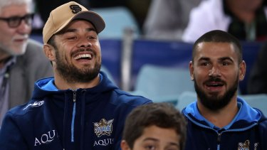 Blues brothers: Jarryd Hayne and Nathan Peats, in camp before Origin II, turned up to support their Titans teammates.