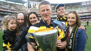 Tigers coach Damien Hardwick with his family.