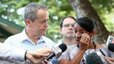 Opposition Leader Bill Shorten with Senator Nova Peris after she spoke about her departure from politics in Darwin on Thursday.