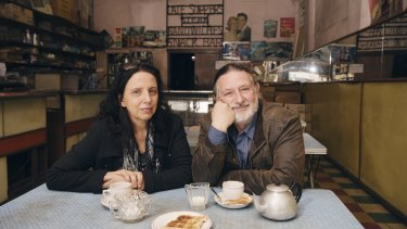 Authors Leonard Janiszewski and Effy Alexakis have tea at inner-Sydney's Olympia Cafe.