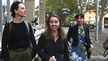Fifer (centre) leaves the Sydney Law Courts on April 14, 2016. She had little to smile about a week later as Dame Carol won a temporary injunction against her film.