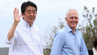Japanese Prime Minister Shinzo Abe and Malcolm Turnbull during Mr Abe's visit to Australia in early 2017.