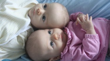 Caitlin Fitzsimmons' twin babies in 2011. Parents of multiples can claim paid parental leave (if eligible) AND newborn payments.