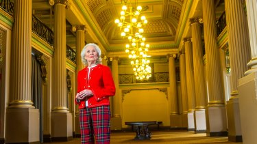 Lady Potter in the Queen's Hall of the State Library of Victoria.