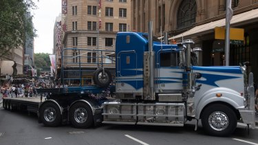 Semi-trailers were parked around Sydney's Pitt Street Mall on Boxing Day, serving as traffic barricades.