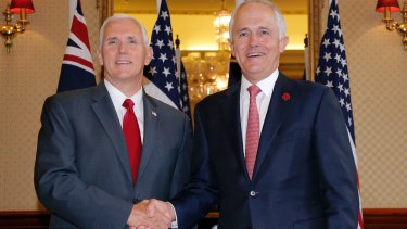 Malcolm Turnbull with US Vice-President Mike Pence, who visited Australia last month.