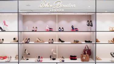 The shoe section at the Debenhams Melbourne store, which opens on Tuesday.