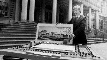 Donald Trump with an architect's model of City Hall Plaza in New York in 1977.