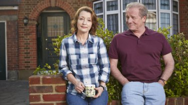 Lesley Manville and Peter Mullan in <i>Mum</i>.