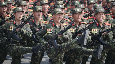 A military parade in Pyongyang this month.