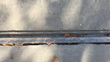 Although it wasn't wet, leaves and dirty residue were stuck to these tram tracks on Collins Street.