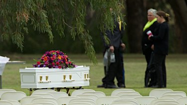 Mourners gather for the funeral of Stephanie Scott in Eugowra.