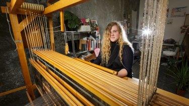 Toast founder Daisy Watt at her loom.