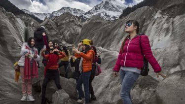 Chinese tourists in Tibet.