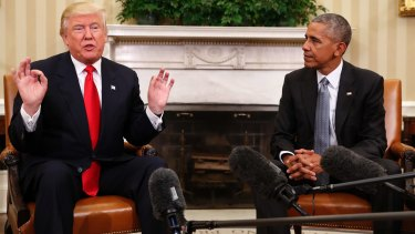 President-elect Donald Trump and President Barack Obama at their historic meeting in the Oval Office on November 10.