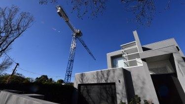 The crane on Ormond Road, Elwood, that developer Steller must take down.