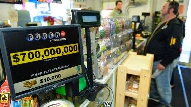 Jerry Clark buys Powerball lottery tickets at Bill's Kwik Chek in Chambersburg, Pennsylvania,
