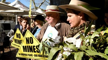 Protest outside the NSW Land and Enviroment Courts over Shenua Watermark coal mine on the Liverpool Plains.