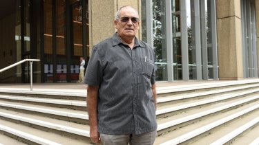 Joseph Pereira outside Sydney Supreme Court fighting against Johnson and Johnson who manufactured the fault hip replacement that he received.