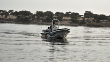 A boat of the Chadian police sails on Lake Chad, which borders Chad, Nigeria, Niger and Cameroon, in January.