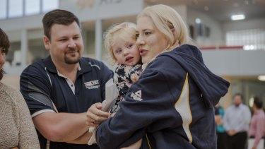 Lauren Jackson with her niece at her retirement announcement in March.
