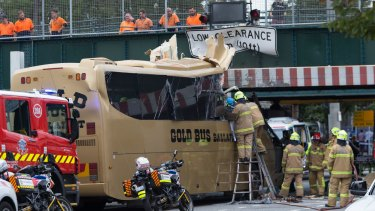 A bus has crashed into a bridge in Montague Street, South Melbourne.